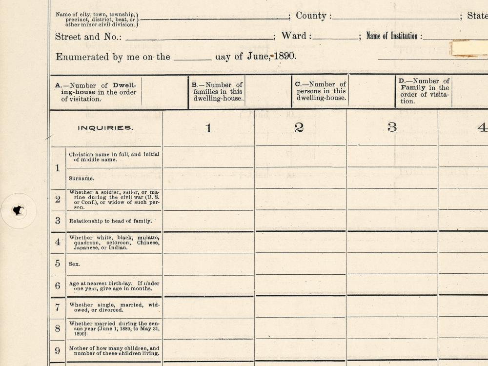 An 1890 census form. Census Bureau.