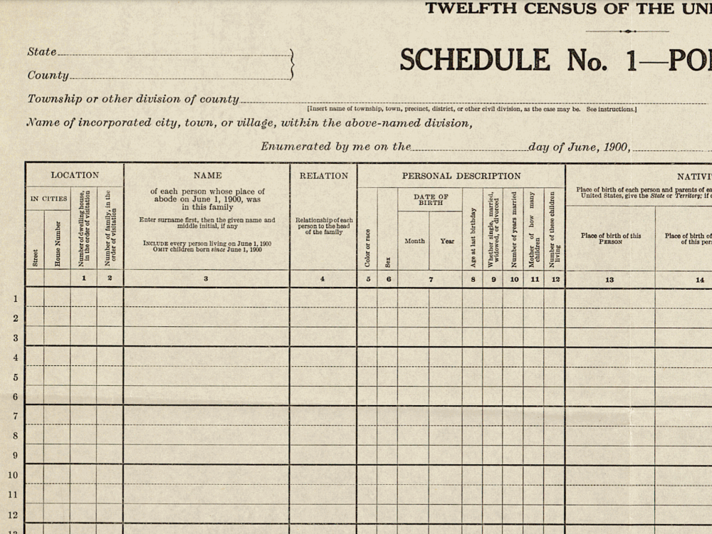 A 1900 census form. Census Bureau.