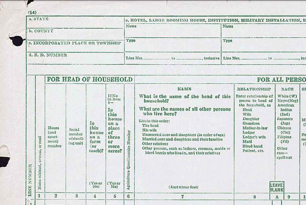 A 1950 census form. Census Bureau.