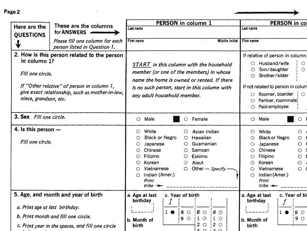 A 1980 census questionnaire. Census Bureau.