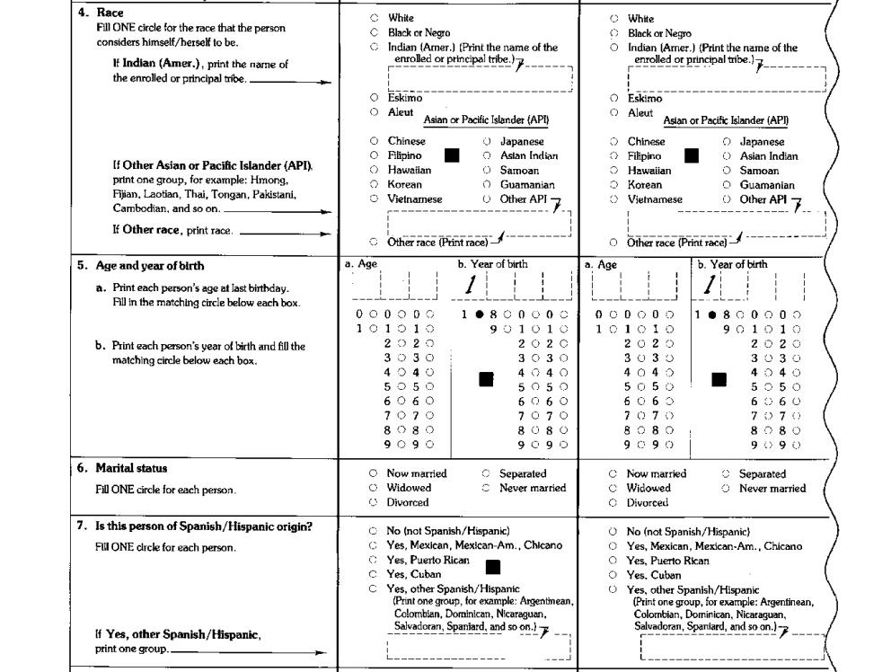 A 1990 census questionnaire. Census Bureau.