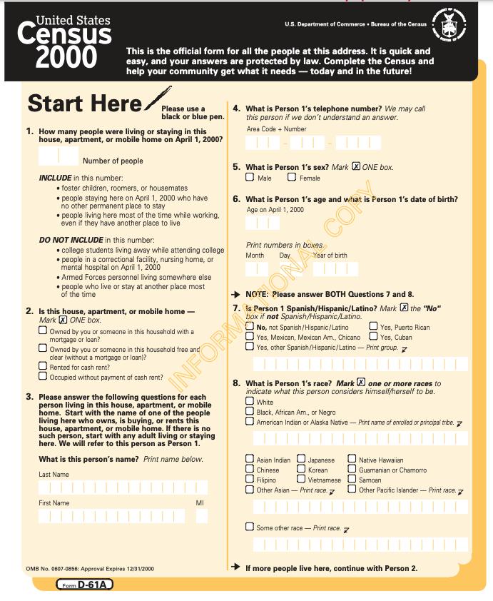 A 2000 census questionnaire. Census Bureau.