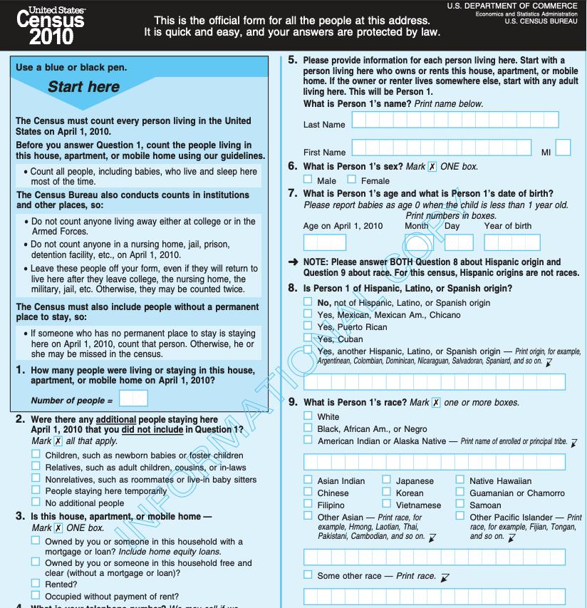 A 2010 census questionnaire. Census Bureau.