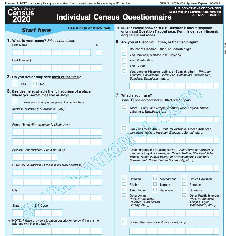 A 2020 census questionnaire. Census Bureau.