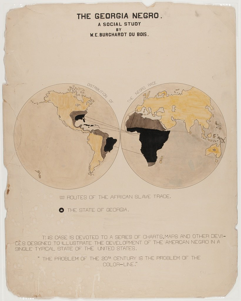 Diagram of African slave trade routes created by W.E.B. Du Bois and team for the 1900 Paris Exposition. (Library of Congress)