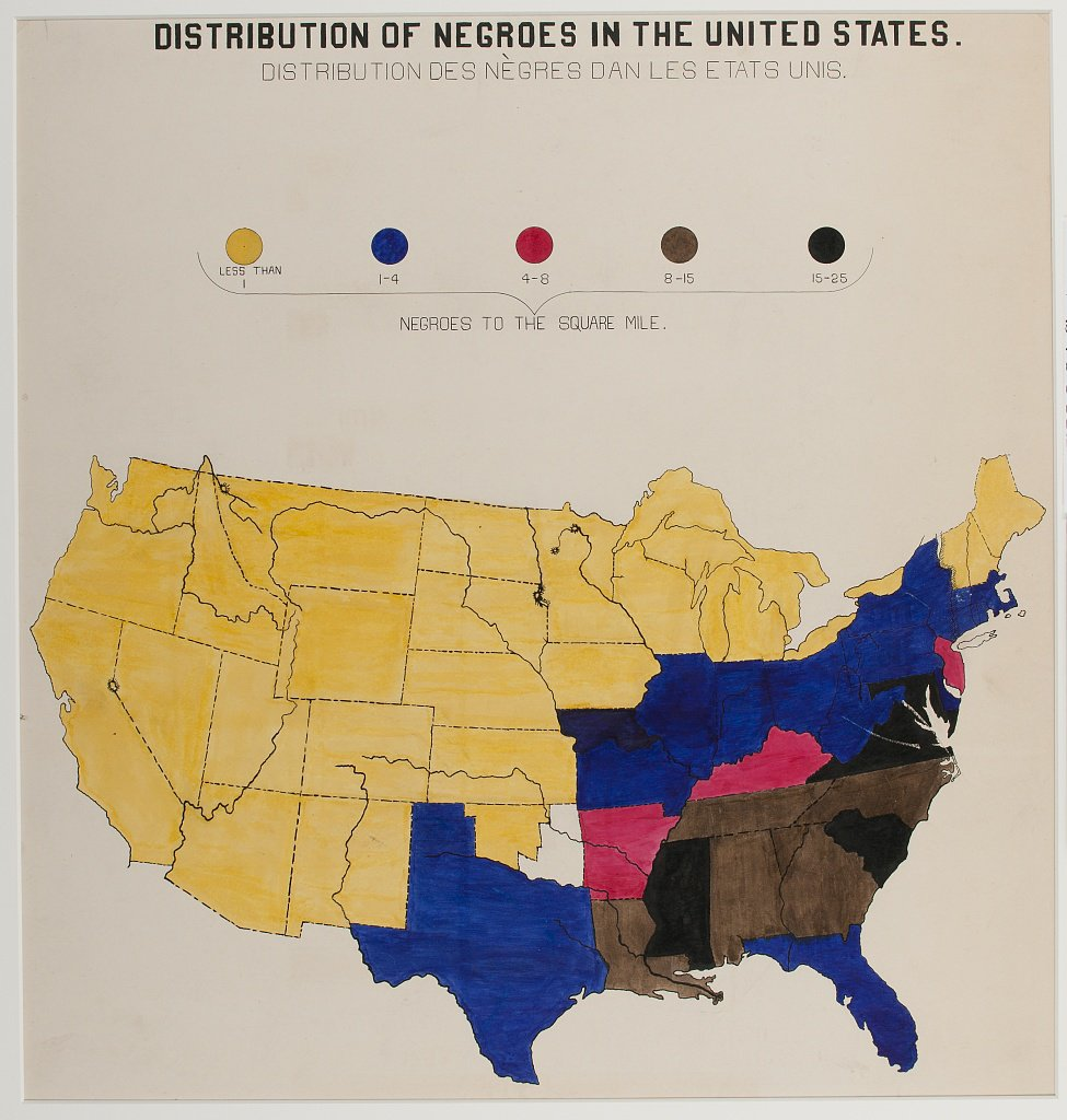 Map showing distribution of Black Americans created by W.E.B. Du Bois and team for the 1900 Paris Exposition. (Library of Congress)