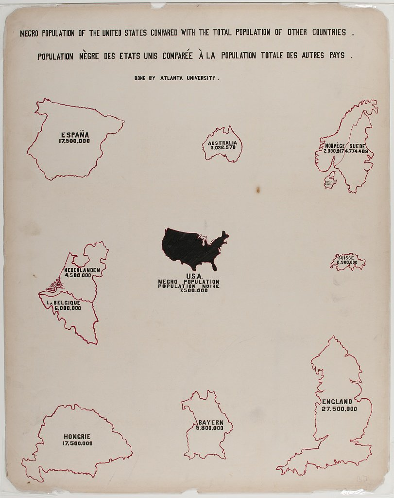 Illustration comparing the population of Black people in the US with the total population of European countries created by W.E.B. Du Bois and team for the 1900 Paris Exposition. (Library of Congress)
